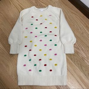 Gap Sweater Dress Sz 4 Off White W/ Colorful Dots